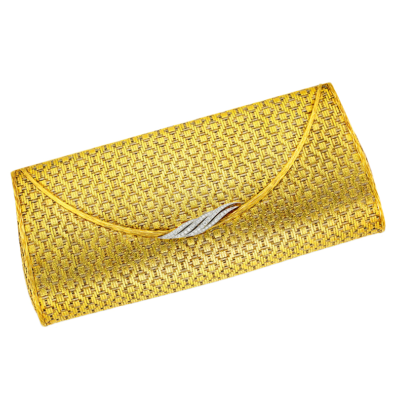 Two-tone karat gold mesh and diamond evening clutch by Van Cleef & Arpels (Lot 503)