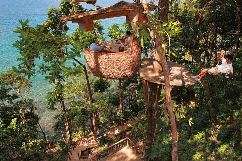 Treepod dining at Soneva Kiri Resort, Thailand