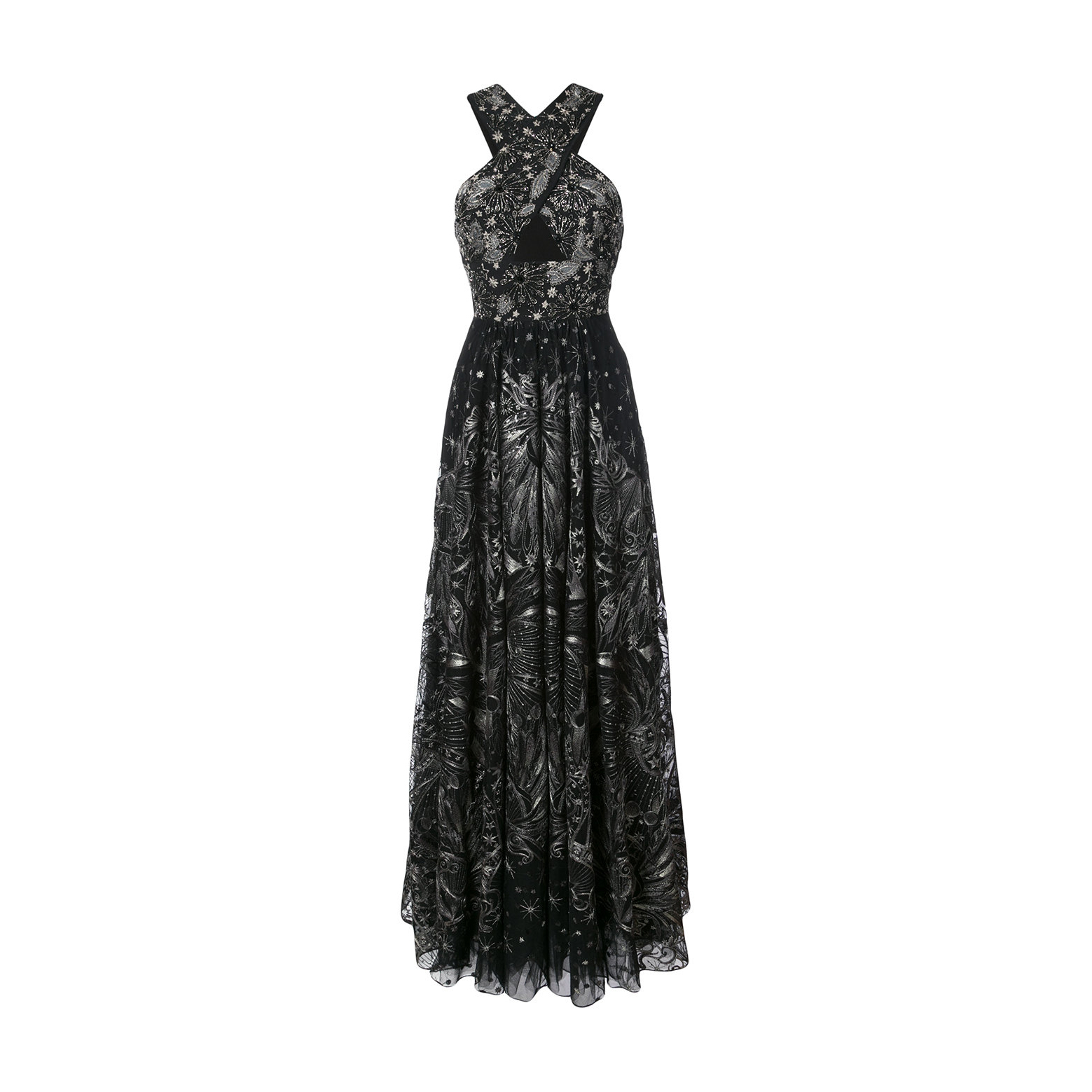 Marchesa Notte sequin embroidered crossover gown