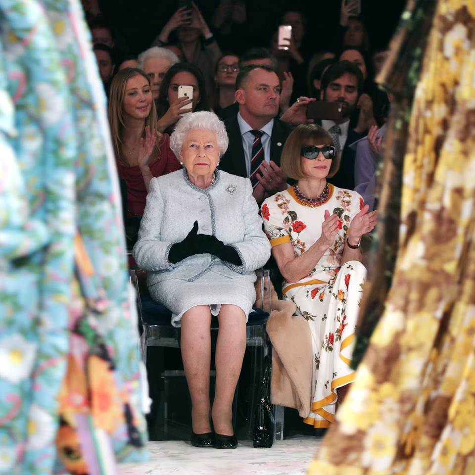 Queen Elizabeth II joined Anna Wintour in the front row
