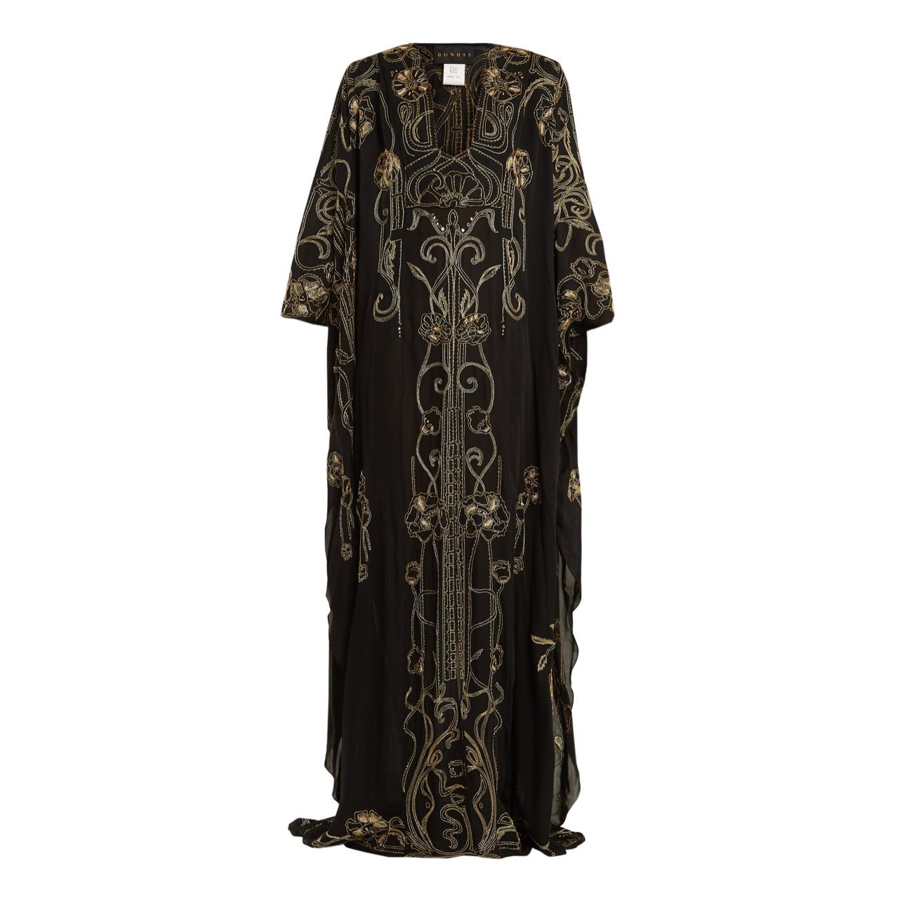 Dundas' embroidered silk-georgette gown