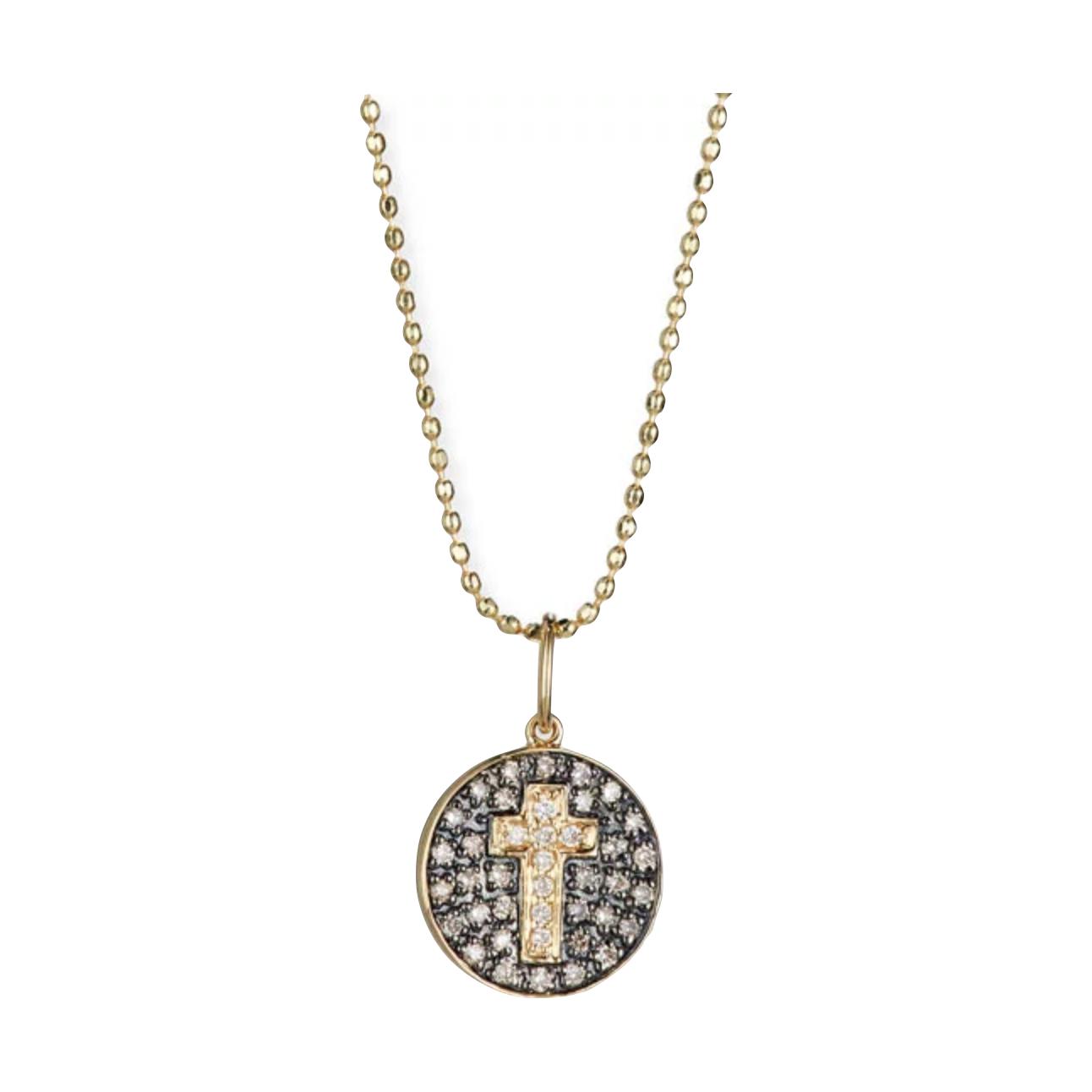 Sydney Evan's cross medallion necklace