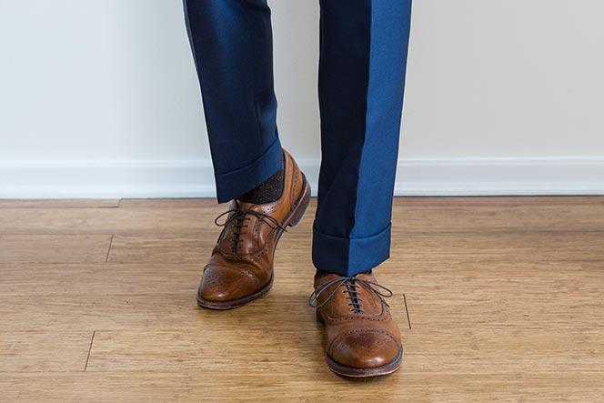 Hem break men's formal wear
