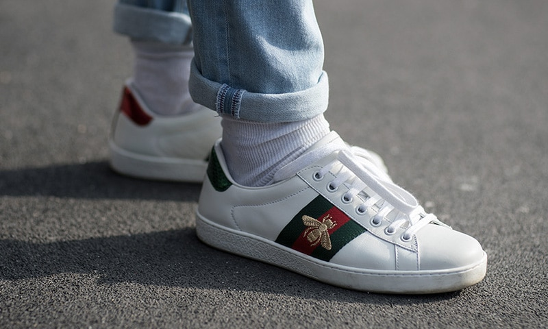 Ace watersnake-trimmed embroidered leather sneakers by Gucci
