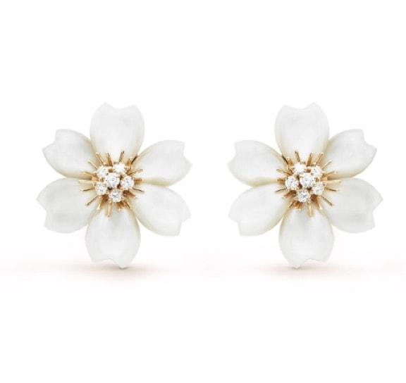Stud Earrings: Van Cleef & Arpels Rose de Noel Earrings Small