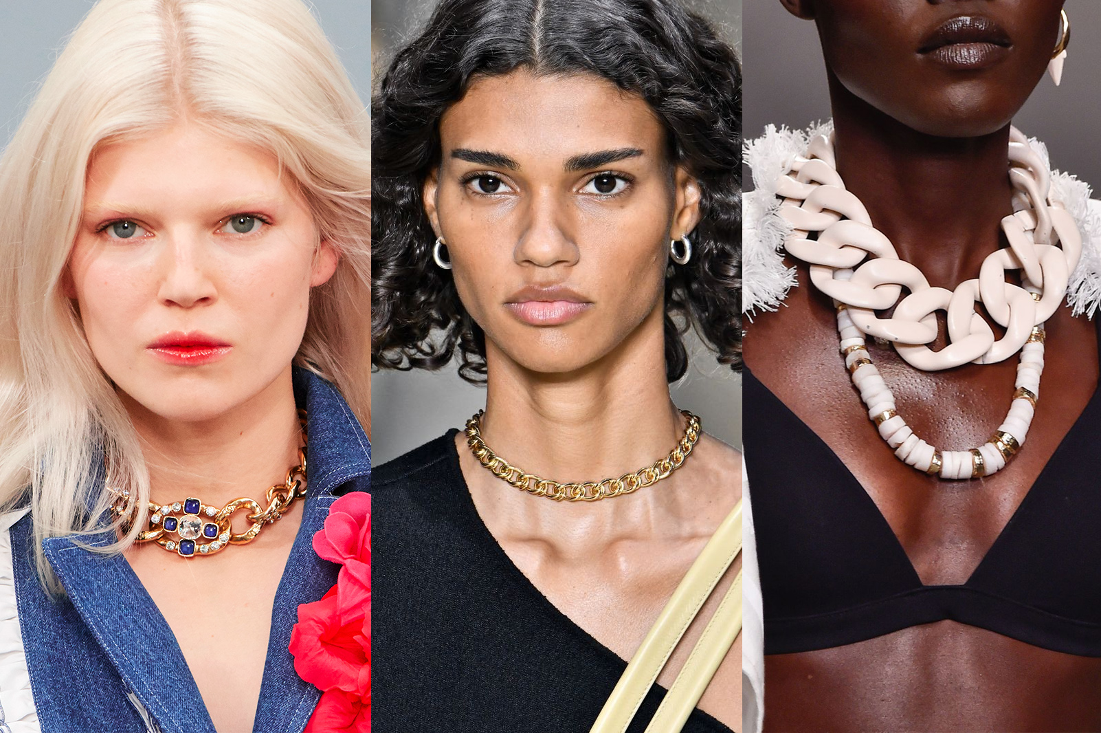 Chain link necklaces spotted on the SS20 runways of Chanel, Bottega Veneta and Zimmermann.