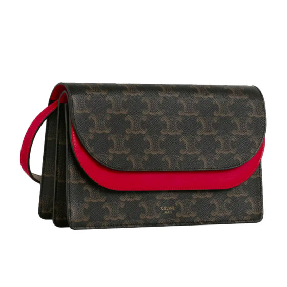 Celine: wallet on strap in triomphe canvas and smooth lambskin