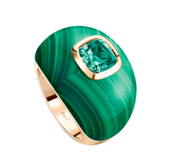 Piaget 'Extremely Piaget' ring in tourmaline, malachite and rose gold