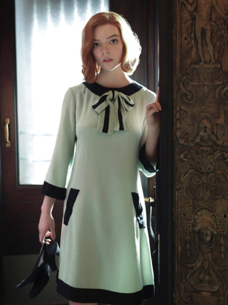 The Queen's Gambit, Beth in a mint green Bow dress inspired by Pierre Cardin