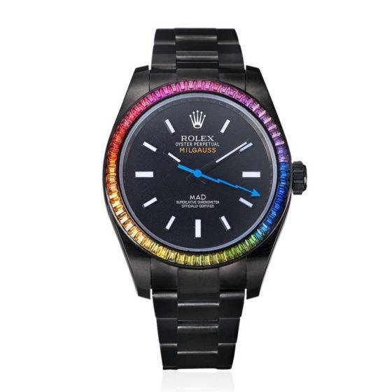 Rolex's Milgauss Rainbow watch, customised by MAD Paris