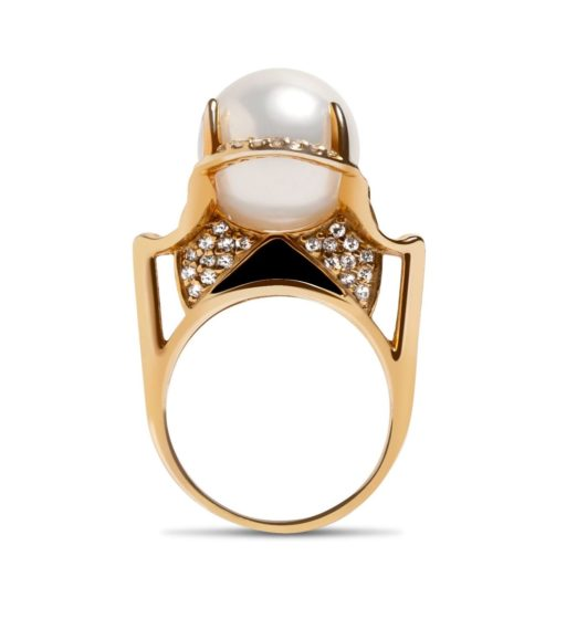 Isis Goddess South Sea Pearl Ring with White Diamonds in 18k Yellow Gold
