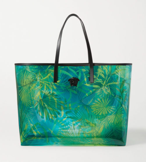 Jungle embellished printed PVC tote by Versace
