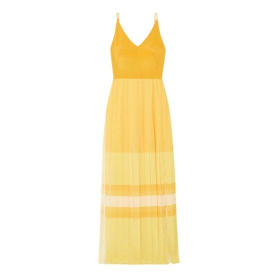 Akris pleated colour-block silk maxi dress