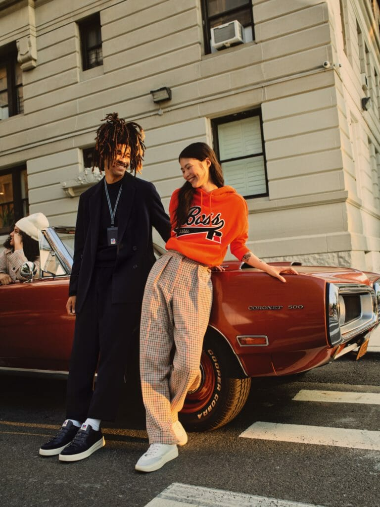 Image of models in outfits from BOSSxRussell Athletic collection for Boss and Russell Athletic collaboration article