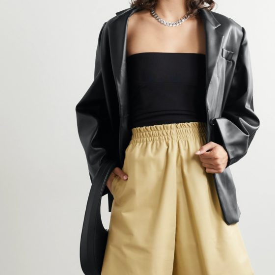 Pushbutton's paneled faux leather and denim blazer