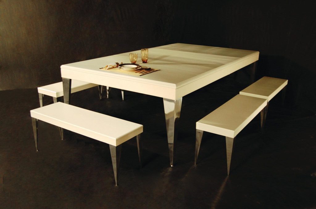 MBM Biliardi pool table can be transformed into a dining table