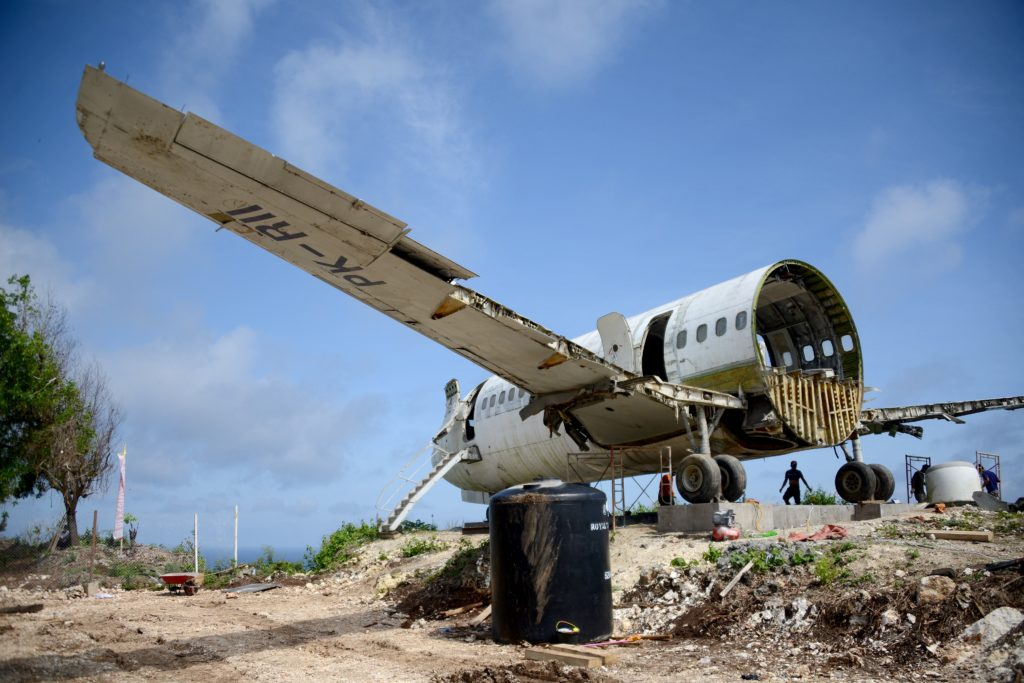 Bali's latest tourist attraction is a decommissioned Boeing perched atop a cliff