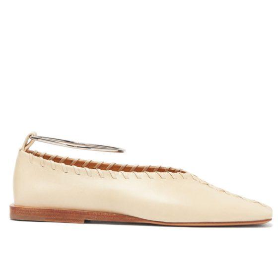 Jil Sander whipstitched square-toe leather ballet flats