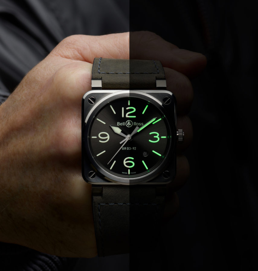 Bell & Ross's BR03-92 Grey LUM is a watch that's made to be seen — both in the day and at night