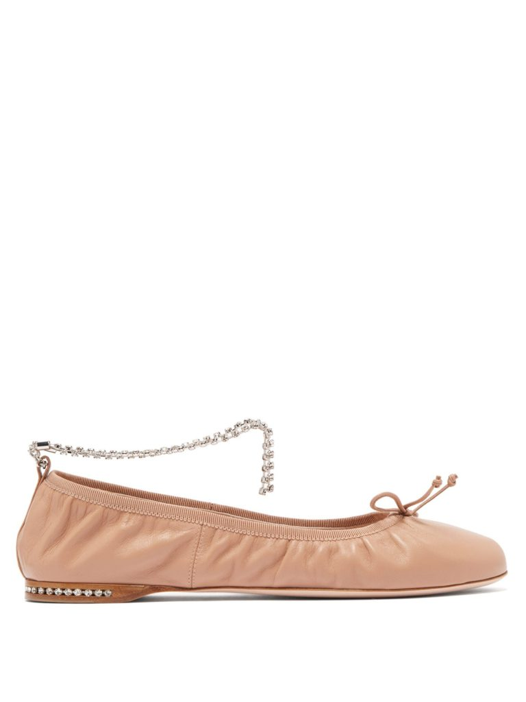 Miu Miu crystal-anklet leather ballet flats (Photo credit: Matches Fashion)