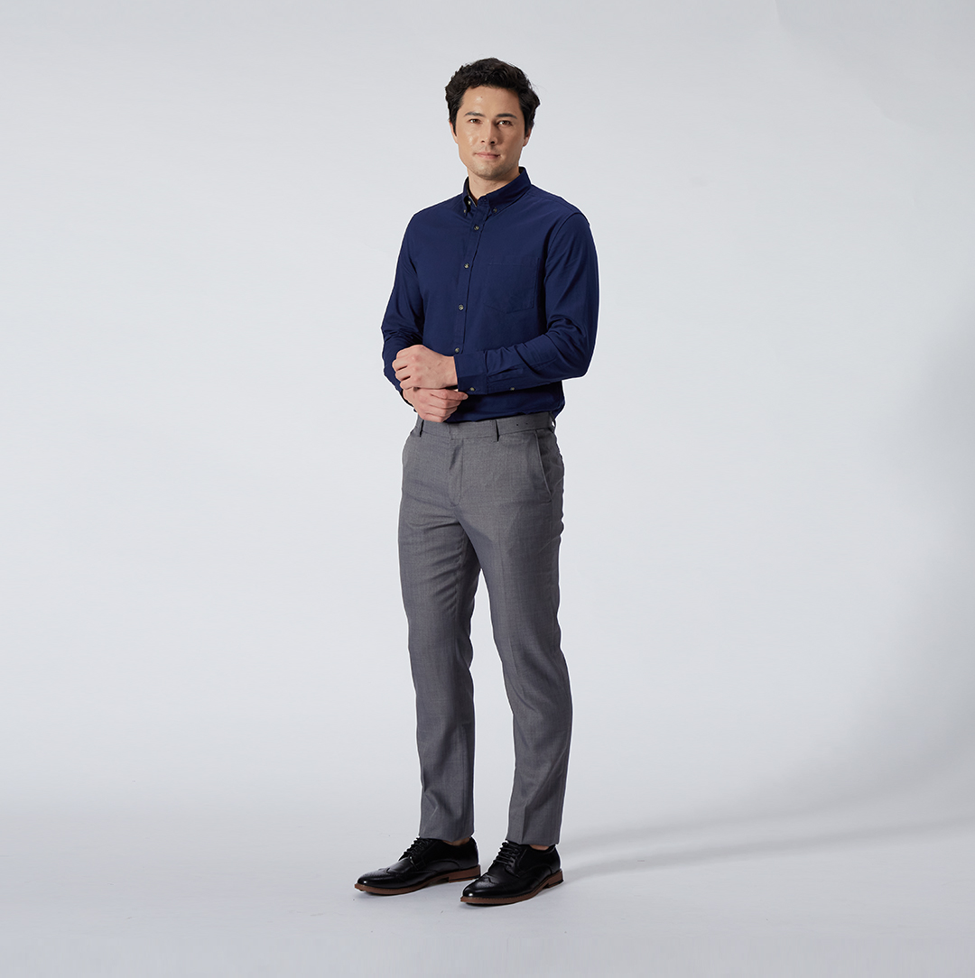 The Navy Blue Long Sleeve Oxford Shirt, S$69, paired with the Grey Ultra Slim Fit Poly Twill Pants, S$69 (Photo credit: G2000)