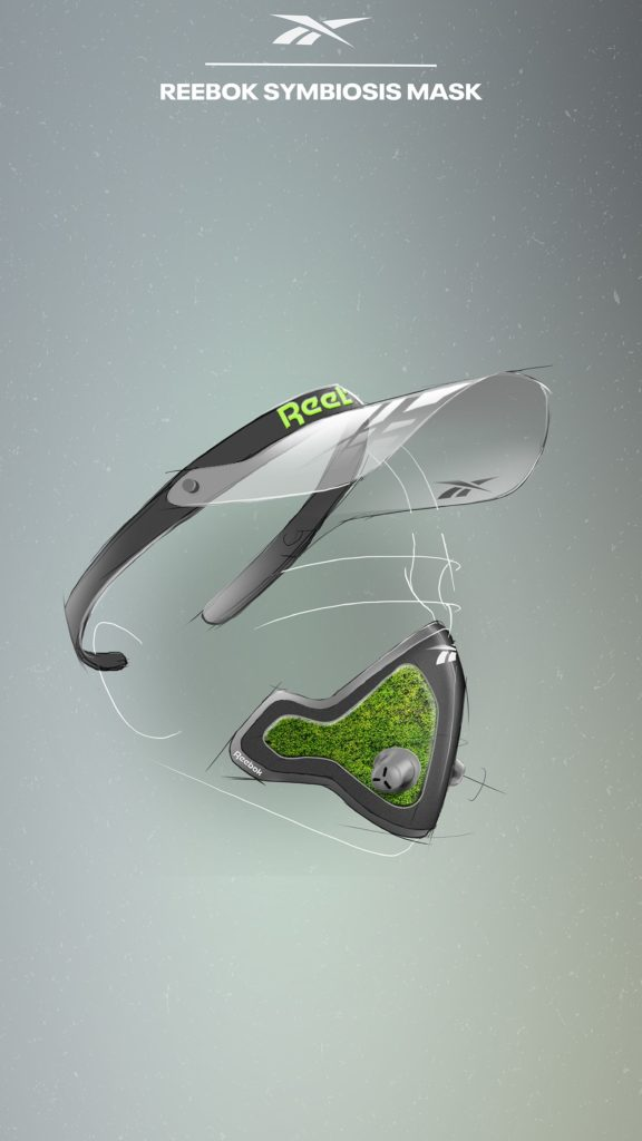 Reebok's conceptual Symbiosis Mask, featuring a natural filter, is designed to purify oxygen. (Photo credit: Reebok)