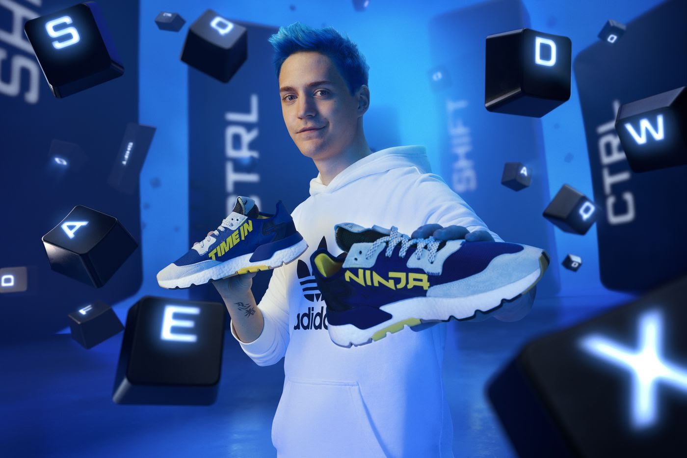 "Fortnite player Ninja with his Adidas sneakers, the ""Time In"" Nite Joggers. (Photo credit: Adidas)"