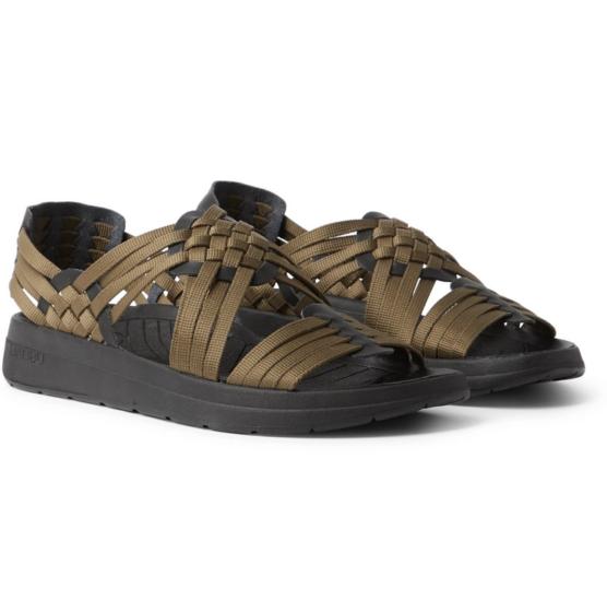 Malibu faux leather-trimmed woven webbing sandals
