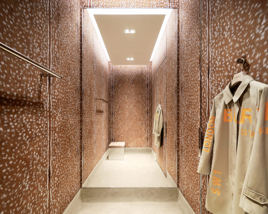 Inside one of the three themed fitting rooms in Burberry's Shenzhen store, which customers can book through the WeChat program. (Photo credit: Burberry)