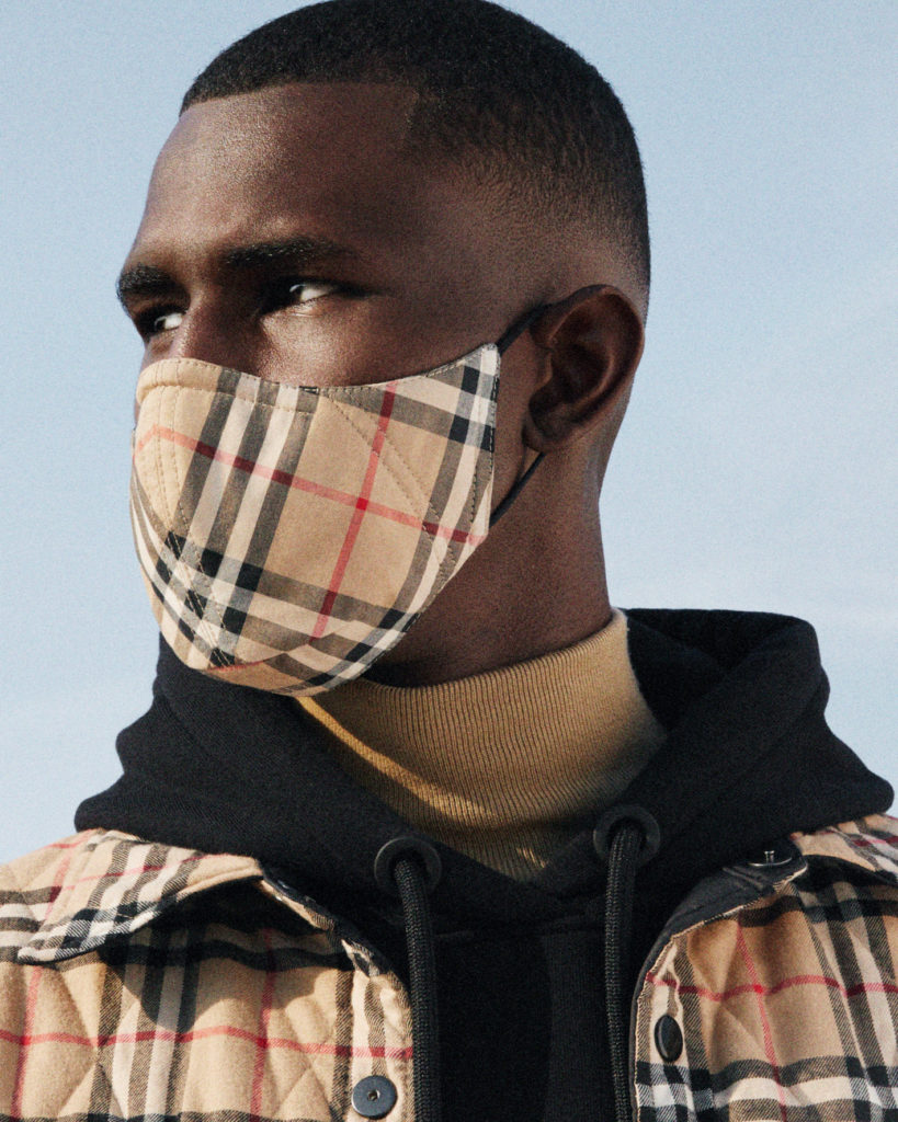 The Vintage Check Cotton Face Mask in beige. (Photo credit: Burberry)