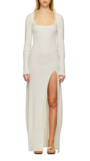 Jacquemus off-white alpaca and wool-blend dress