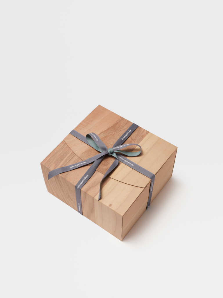 The heart, which can serve as a gift, will be packaged in a wooden box with a Zegna ribbon. (Photo credit: Ermenegildo Zegna)