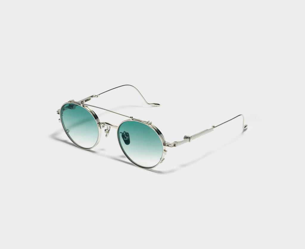 The Cub sunglasses in silver with blue gradient lenses. (Photo credit: Gentle Monster)