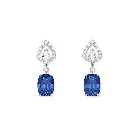 Chaumet 'Souveraine de Chaumet' earrings in sapphire, diamond and white gold