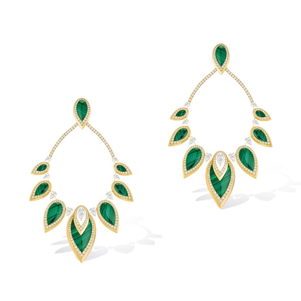 Yellow gold, diamond and malachite earrings (Photo credit: Messika)