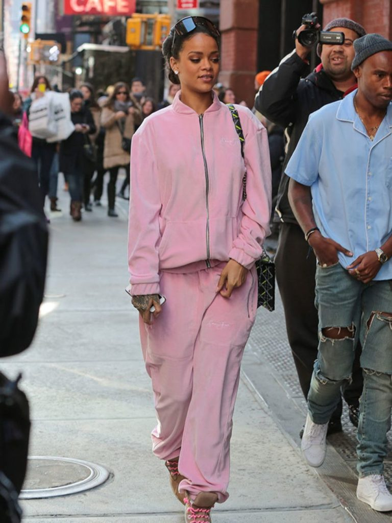 Rihanna in a vintage Sean John tracksuit. (Photo credit: Getty Images)