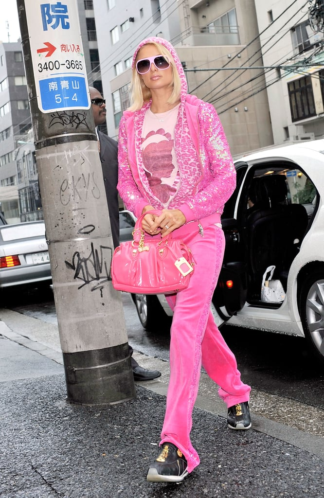 "Paris Hilton, a self-proclaimed ""Juicy Girl For Life"", was frequently spotted in Juicy Couture tracksuits in the 2000s. (Photo credit: Getty Images)"