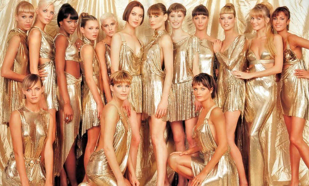 """Versace's signature """"Oroton"""" chainmail dresses from F/W 1994 (Photo credit: Versace)"""