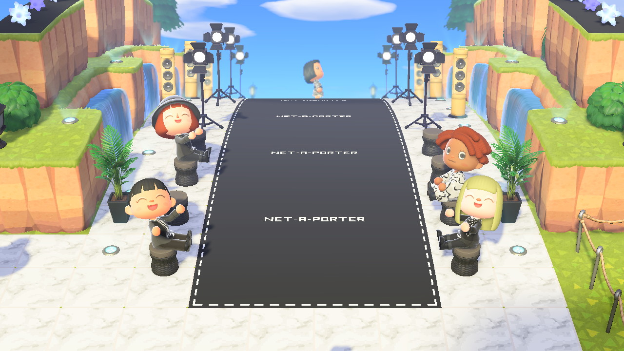 Net-a-Porter's Animal Crossing island includes a runway for players to model their stylish purchases. (Photo credit: Net-a-Porter)