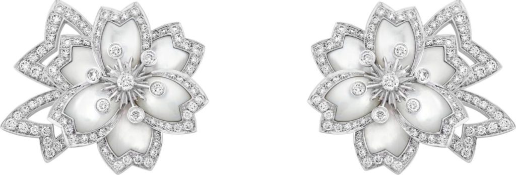 Hellébore earrings in white gold, white mother-of-pearl and diamonds. (Photo credit: Van Cleef & Arpels)