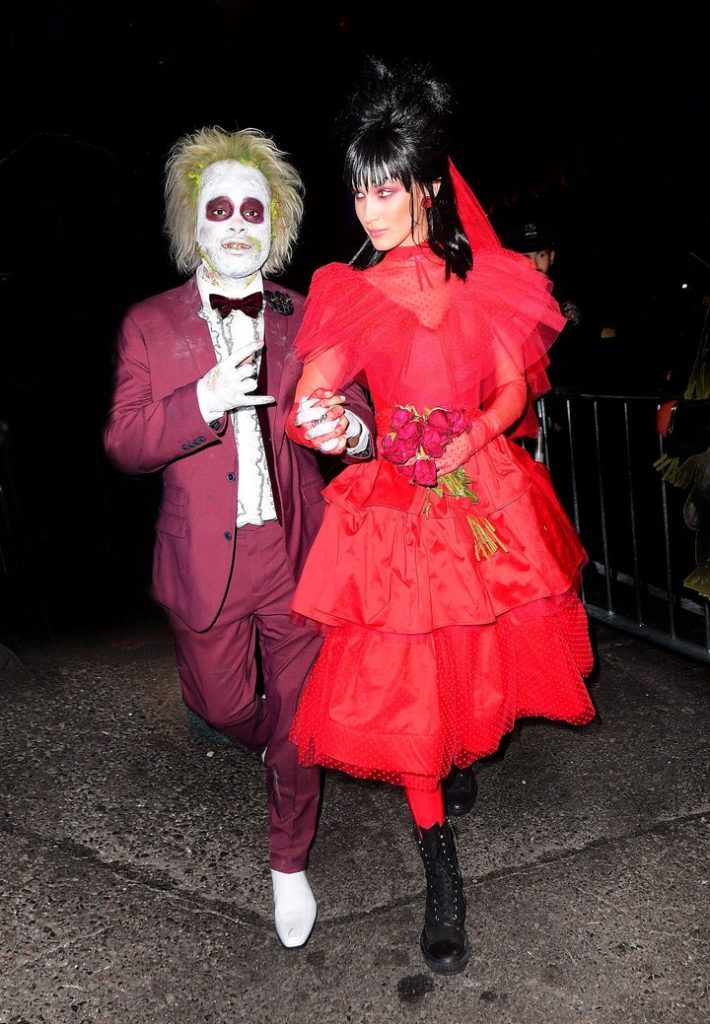 Bella Hadid and The Weeknd as Lydia Deetz and Beetlejuice (Photo credit: Splash News)