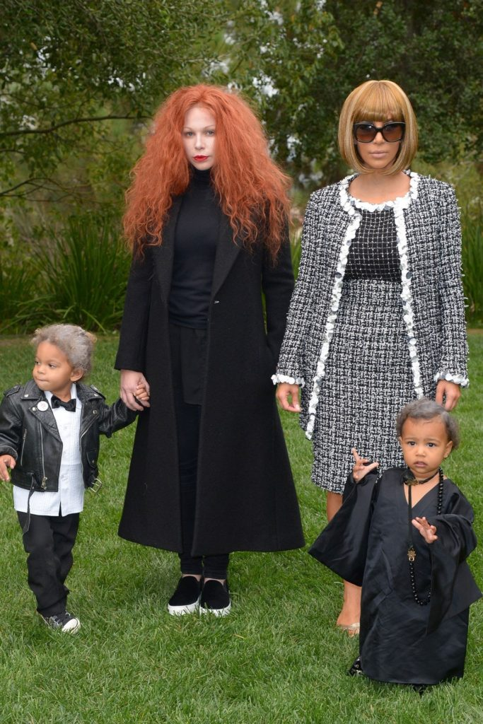 Kim Kardashian as Anna Wintour, North as Andre Leon Talley, Joyce Bonelli as Grace Coddington and her son as Karl Lagerfeld (Photo credit: Rex)