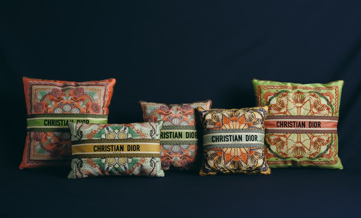 Embroidered cushions from the Dior Maison collection. (Photo credit: Ines Manai, courtesy of Dior)