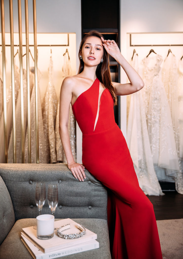 Hannah wears a Romona Keveza one shoulder crepe dress from Belle & Tulle Bridal. (Photo credit: Lifestyle Asia Singapore)