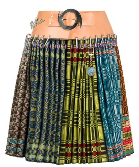Chopova Lowena geometric-print pleated kilt skirt