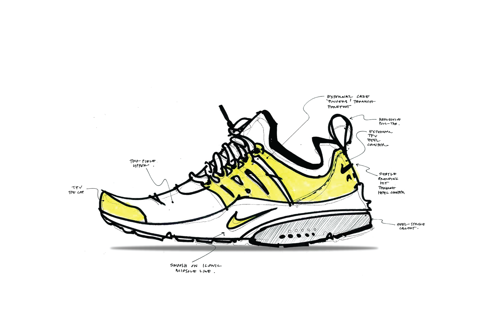 A first sketch of the Air Presto sneakers.  (Photo credit: Nike)