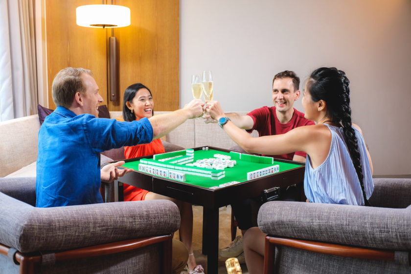 Learn mahjong with champagne at Andaz Singapore