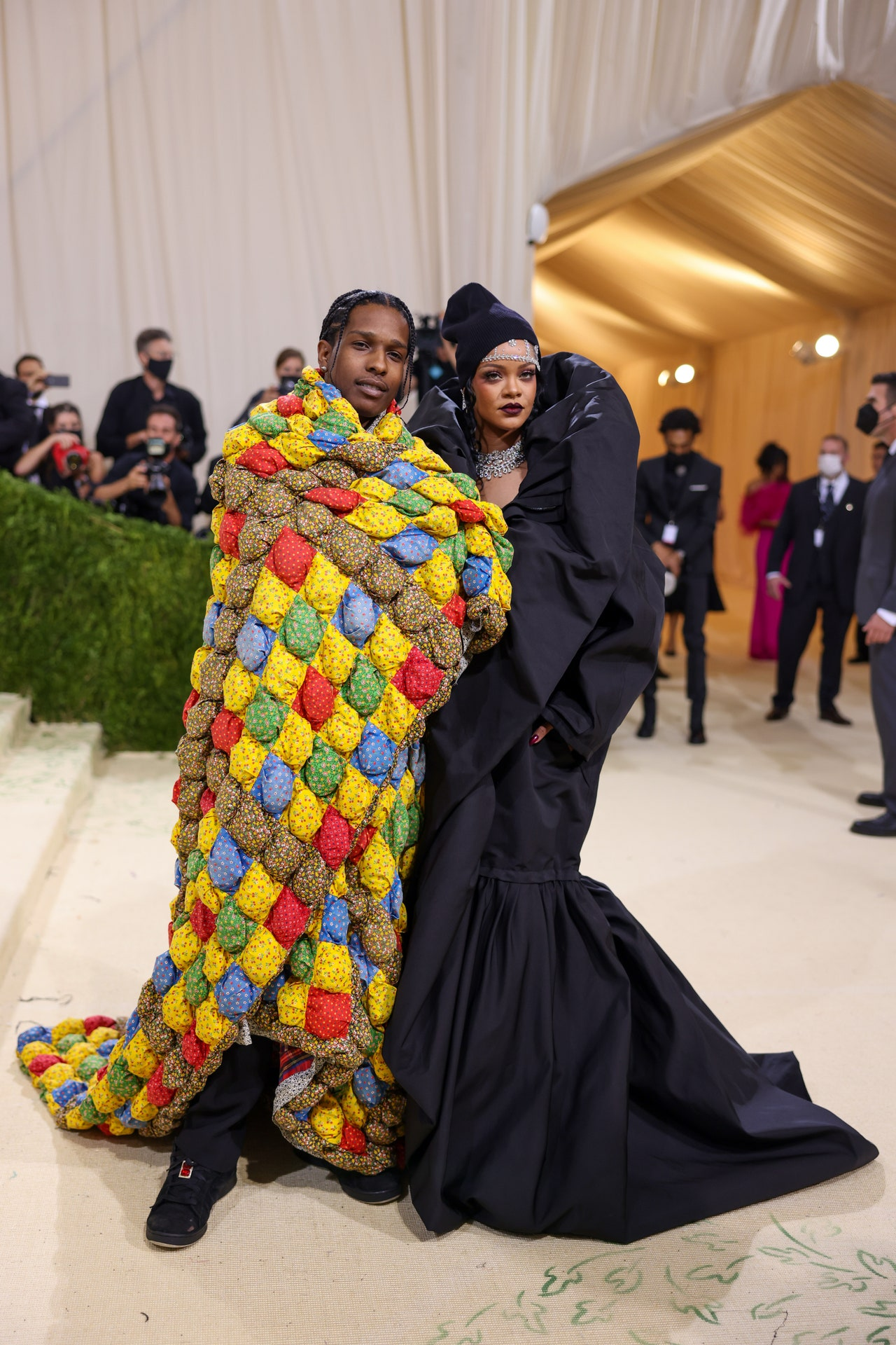 A$AP Rocky in ERL, Rihanna in Balenciaga couture (Photo credit: Getty Images)