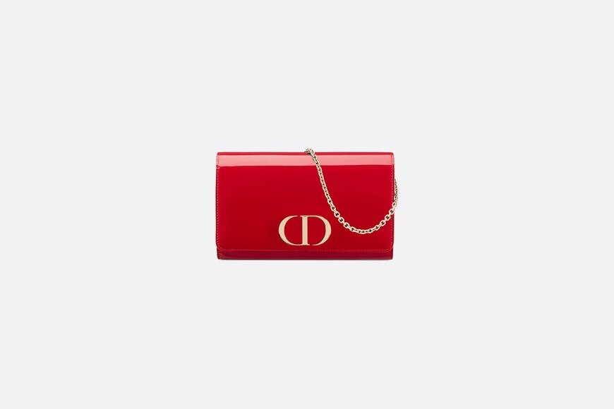 Cherry 30 Montaigne Patent Calfskin Wallet on the chain