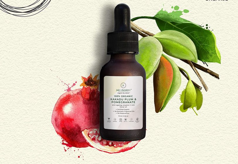 Juicy Chemistry Organic Facial Oil for Anti-Ageing with Kakadu Plum, Pomegranate and Vitamin C, Rs 2,100